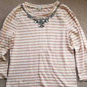 J Crew 3/4 sleeve striped shirt